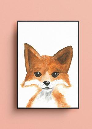 poster vos kinderkamer nursery baby wanddecoratie waterverf illustratie