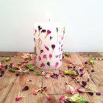 Kaars met gedroogde bloemen DIY
