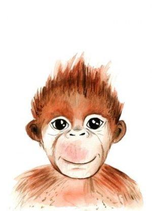 aap poster tekening waterverf kinderkamer