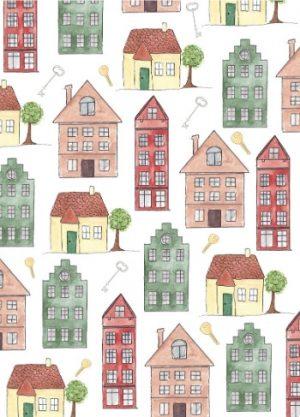 huizen kaart waterverf