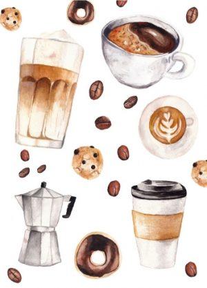 koffie illustratie kaart print latte americano koekje