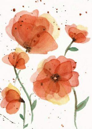oranje bloemen waterverf afbeelding kaart