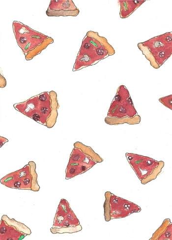 pizza print kaart waterverf illustratie