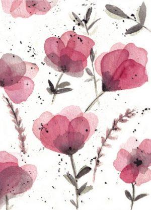 paarse bloemen schildering