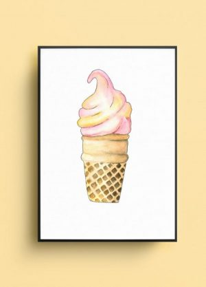 ijs softijs illustratie afbeelding waterverf