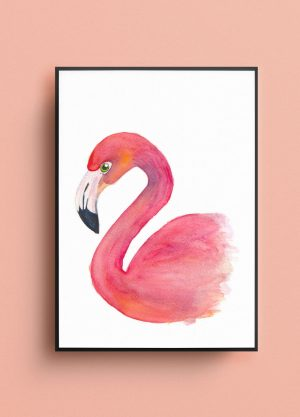poster flamingo waterverf