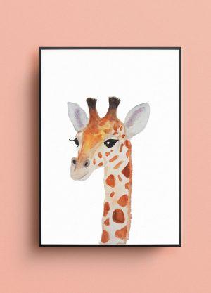 poster giraffe dier waterverf kinderkamer