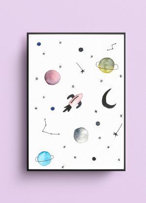poster heelal planeten sterren raket waterverf