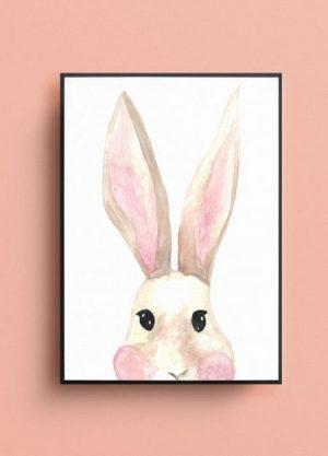 konijn waterverf illustratie poster kraamcadeau