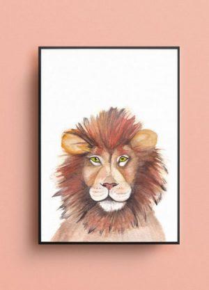 leeuw poster fritsy waterverf tekening