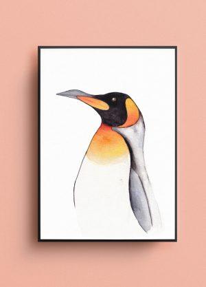 poster pinguin waterverf tekening