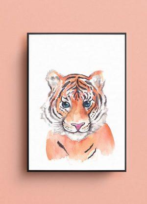 tijger poster illustratie waterverf