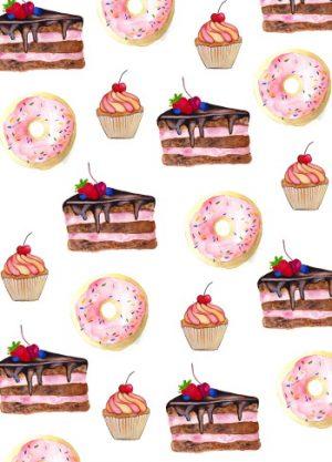 Fritsy kaart patroon ontbijt taart donut cupcake feest verjaardag
