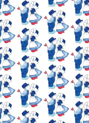 kaart delfst blauw poppetjes print fritsy
