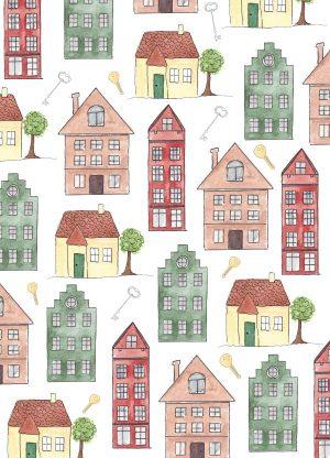 kaart huizen print geschilderd fritsy
