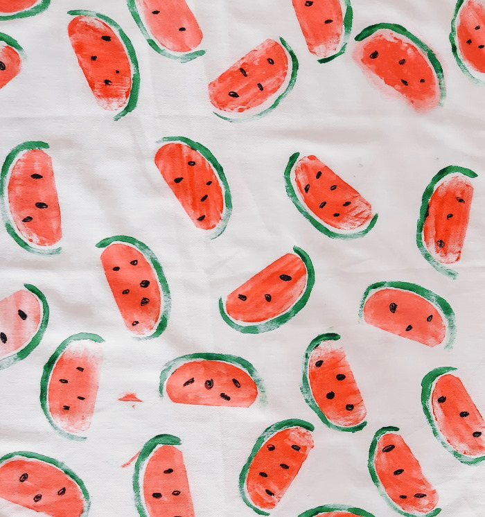 watermeloen print theedoek zelf maken